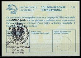 UNITED NATIONS VIENNA  UNAUSPHILA 85  28.06.85  30 JAHRE  On Int. Reply Coupon Reponse IRC IAS Antwortschein La24 ( No.2 - Briefmarkenausstellungen