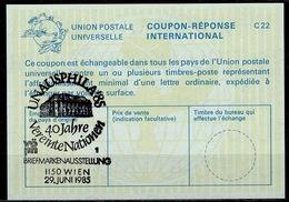 UNITED NATIONS VIENNA  UNAUSPHILA 85  29.06.85  40 JAHRE  On Int. Reply Coupon Reponse IRC IAS Antwortschein La24  ( No. - Briefmarkenausstellungen