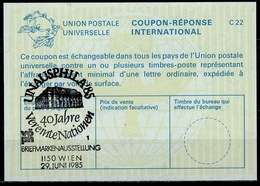 UNITED NATIONS VIENNA  UNAUSPHILA 85  29.06.85  40 JAHRE  On Int. Reply Coupon Reponse IRC IAS Antwortschein La24  ( No. - UNO