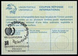 UNITED NATIONS VIENNA  UNAUSPHILA 85  30.06.85  TAG DER BRIEFMARKE On Int. Reply Coupon Reponse IRC IAS Antwortschein - VN