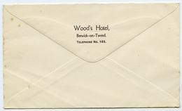 ADVERTISING : ENVELOPE - WOOD'S HOTEL, BERWICK UPON TWEED - Advertising