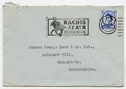 ADVERTISING : ENVELOPE - POSTAL SLOGAN - RACING AT AYR, 1966 / ADDRESS - GEORGE LEES, GALABANK MILL, GALASHIELS - Old Paper