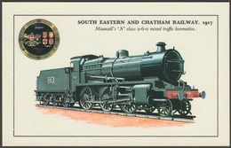 South Eastern & Chatham Railway Mansell's N Class 2-6-0 No 813 - Colourmaster Postcard - Trains