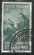 ITALIA REGNO ITALY KINGDOM 1937 CENTENARI UOMINI ILLUSTRI STRADIVARI FAMOUS MEN LIRE 2,55 + 2 USATO USED - 1900-44 Vittorio Emanuele III