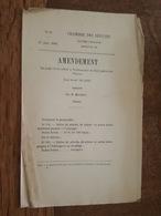1880 - Amendement Au Projet De Loi - Tarif Des Douanes - Huiles De Pétrole, De Schiste, Minérales, Brutes - Decreti & Leggi