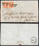 A17-092-A08-12 ANTICHI STATI - LOMBARDO VENETO - Due 5 Soldi Rosso (25) Di Colori E Tavole Diverse - Lettera Da Conselve - Stamps