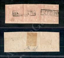 A17-093-A08-18 ANTICHI STATI - MODENA - 1859 - 1 Grano Rosa Carminio (4) - Striscia Di Tre - Diena (550 - Stamps