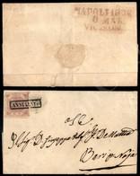 A17-094-A08-19 ANTICHI STATI - NAPOLI - Napoli 1858/6 Mar/Vic E S.Lor (in Lilla Pt.9) Al Retro - 2 Grana Rosa Lillaceo ( - Stamps