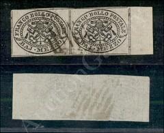 A17-103-A08-44 ANTICHI STATI - PONTIFICIO - 1852 - Mezzo Baj (1) Coppia Orizzontale Bordo Foglio Con Margini Integri - M - Stamps