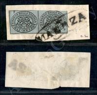 A17-104-A08-45 ANTICHI STATI - PONTIFICIO - 1852 - Maenza (pt. R3) - Coppia Del Mezzo Baj Grigio Azzurro (1a) Su Frammen - Stamps