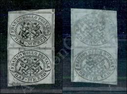 A17-105-A08-46 ANTICHI STATI - PONTIFICIO - 1852 - Coppia Del Mezzo Baj Grigio Azzurro (1a) - Stampa Con Inchiostro Oleo - Stamps