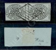 A17-106-A08-47 ANTICHI STATI - PONTIFICIO - 1852 - Coppia Mezzo Baj Grigio Azzurro (1a) Con Interspazio Di Gruppo Al Cen - Stamps