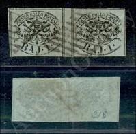 A17-108-A08-49 ANTICHI STATI - PONTIFICIO - 1852 - Coppia Del 1 Baj Verde Grigiastro (2) Con Interspazio Di Gruppo Al Ce - Stamps