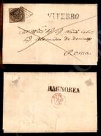 A17-111-A08-52 ANTICHI STATI - PONTIFICIO - Griglia Di Viterbo - 3 Baj Bistro Arancio (4) Su Lettera Per Roma 10.8.56 - Stamps