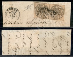 A17-112-A08-53 ANTICHI STATI - PONTIFICIO - Coppia Del 4 Baj Bruno Grigio Chiaro (5) Su Frammento - Bologna 24.9.54 - Mo - Stamps