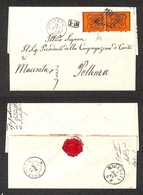 A17-276-A13-0056 ANTICHI STATI - PONTIFICIO - Coppia Del 10 Cent Arancio Vermiglio (26c) Su Lettera Da Corneto (Pt.5) +  - Stamps
