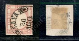 A17-101-A08-29 ANTICHI STATI - PROVINCIE NAPOLETANE - 1861 - 5 Grana Rosa (21e) Annullato Cava 30.8 (275+) - Stamps