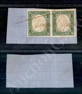 A17-119-A08-72 ANTICHI STATI - SARDEGNA - 1861 - Coppia Del 5 Cent Verde Oliva Chiaro (13Ca) Su Frammento Con Annullo A  - Stamps