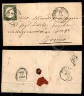 A17-120-A08-73 ANTICHI STATI - SARDEGNA - 5 Cent Verde Bronzo (13Dd) Corto In Angolo - Letterina Per Città - Torino 22.8 - Stamps