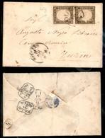 A17-121-A08-75 ANTICHI STATI - SARDEGNA - Coppia Verticale Del 10 Cent Bruno Grigio Olivastro (14Cg) Esemplare Superiore - Stamps