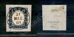 A17-122-A08-77 ANTICHI STATI - SARDEGNA - Palazzago (Pt.9) - 20 Cent Azzurro (15C) Su Frammento 21.5.61 - Molto Bello -  - Stamps