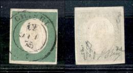 A17-358-A14-0067 ANTICHI STATI - SARDEGNA - 1854 - 5 Cent Verde (7d) - Chieri 12.10.55 - Molto Bello - Diena + Oliva (1. - Stamps