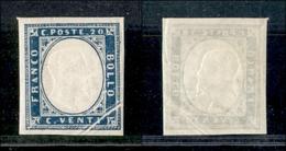 A17-360-A14-0100 ANTICHI STATI - SARDEGNA - 1861 - 20 Cent Celeste Grigio (15Db) - Bella Piega Di Carta In Angolo - Stamps