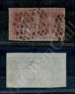 A17-124-A08-102 ANTICHI STATI - TOSCANA - 1851 - 1 Crazia Carminio Violaceo (5c - Carta Azzurra) - Coppia Orizzontale -  - Stamps