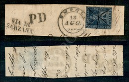 A17-127-A08-105 ANTICHI STATI - TOSCANA - 1851 - 6 Crazie Indaco Su Azzurro (7a - Carta Azzurra) Ritagliato Lungo Il Dis - Stamps