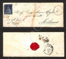 A17-128-A08-106 ANTICHI STATI - TOSCANA - Rombi Di Pisa (rosso - Pt. R1) - 6 Crazie Azzurro Scuro Su Azzurro (7c) - Lett - Stamps