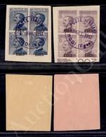 A17-228-A08-494 COLONIE - EGEO - Egeo - 1912/1913 - 25 Cent (1) + 50 Cent (2) - I Due Valori In Quartina - Rodi 22.9.12  - Stamps