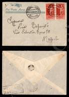 A17-226-A08-490 COLONIE - EMISSIONI GENERALI - Coppia Del 75 Cent (25) Su Aerogramma Da Massaua A Napoli Del 11.6.38 - Stamps