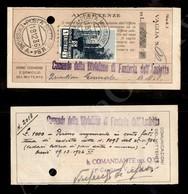 A17-234-A08-508 COLONIE - ERITREA - Posta Militare N.84 Emissione A - 1 Lira (209) Su Ricevuta Vaglia Del 19.12.36 - Stamps