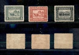 A17-332-A13-0608 COLONIE - ERITREA - 1928/1929 - Dentellati 11 (129/131) -  Serie Completa - Gomma Integra (1.125) - Stamps