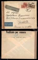 A17-248-A08-566 COLONIE - LIBIA - Feldpost B 06.8.42 - 40 Cent + 2 Lire (55+57) Aerogramma Espresso Per Taranto - Censur - Stamps