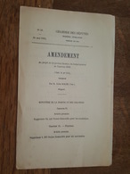 1882 - Amendement Au Projet De Loi - Ministère De La Marine Et Colonies - Aumoniers, Sacristains, Frais Passage Paquebot - Decreti & Leggi