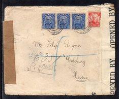 Brasil To Swedden (Goteborg), 1918, Registered Cover, WW I, USA Censor Tape - Brasil