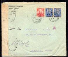 Brasil (Porto Alegre) To France (Paris), 1916, Cover, WW I, France Censor Tape, - Brasil