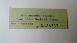 H8.9 Railway Tiicket Stub- Basel SBB- Buchs (St. Gallen)  Switzerland  - Hungarian Travel Office 1934 - Transportation Tickets