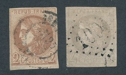 """CD-33: FRANCE: Lot  Avec """" BORDEAUX"""" N°40B-41B Obl , Amincis Mais Beaux D'aspect - 1870 Emission De Bordeaux"""
