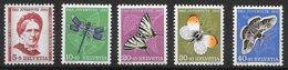 Insecte Papillon Libellule - Suisse N°512 à 516 1951 ** - Papillons