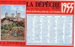 CALENDRIER LA DEPECHE )1955 -21x13 - PHOTOS CARAVANNE LA DEPECHE CAHORS-FENAISON à FOIX - Calendars