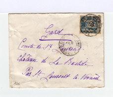 Sur Enveloppe 15 C. Sage Bleu Oblitéré. Cachet Gare De Vienne, Isère, 1890. (566) - Marcophilie (Lettres)