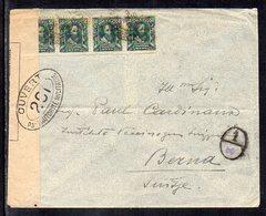 Brasil To Switzerland (Berna), 1916, Cover, WW I, France Censor Tape, - Brasil