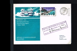 1968 - Great Britain First Flight Cover - Transport - Ships & Boats - Hovercraft Dover-Boulonge [FT029] - FDC