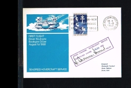 1969 - Great Britain First Flight Cover - Transport - Ships & Boats - Hovercraft Boulonge-Dover [FT030] - FDC