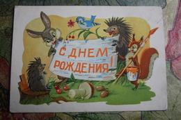 """Happy Birthday""  By Arbekov  - OLD PC 1962 - Hedgehog And Bunny  - Mushroom - Champignon - Mushrooms"