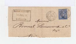 Sur Lettre 25 C. Sage Outremer Oblitéré. Cachet Lyon à Marseille, 1877. (567) - Marcophilie (Lettres)