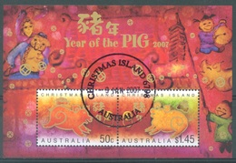 CHRISTMAS - USED/OBLIT. - 2007  - YEAR OF THE PIG - Yv BLOC 31 - Lot 17385 - Christmas Island