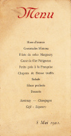 Menu Gauffré Et Imprimé, 5 Mai 1921 - Menus